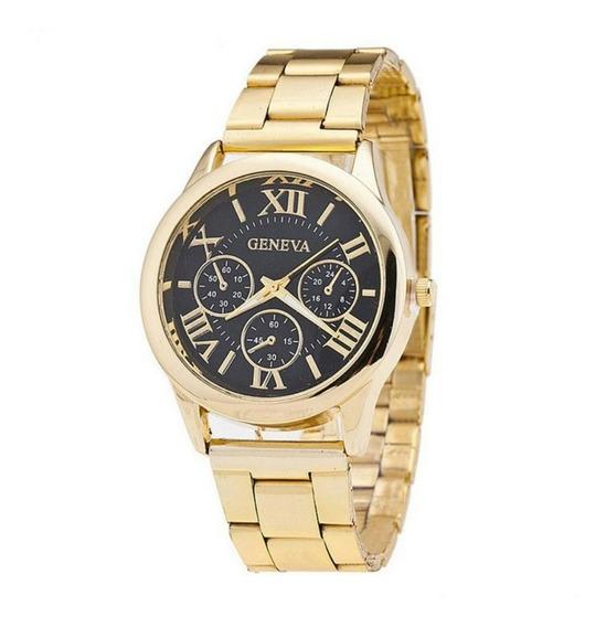Relógio Feminino Geneva Model 5240 Gold Ouro Com Caixa