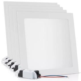 Kit 5 Painel Led Plafon 25w Luminária Branco Quente Quadrado