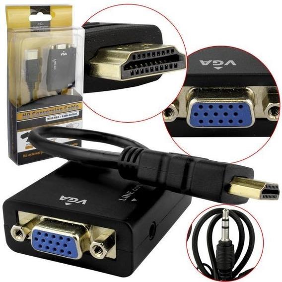 Conversor Adaptador Exbom Hdmi X Vga Com Áudio Pc Tv Game