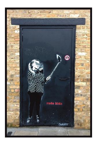 Quadro Decorativo Sala Foto, Grafite Selfie, Londres