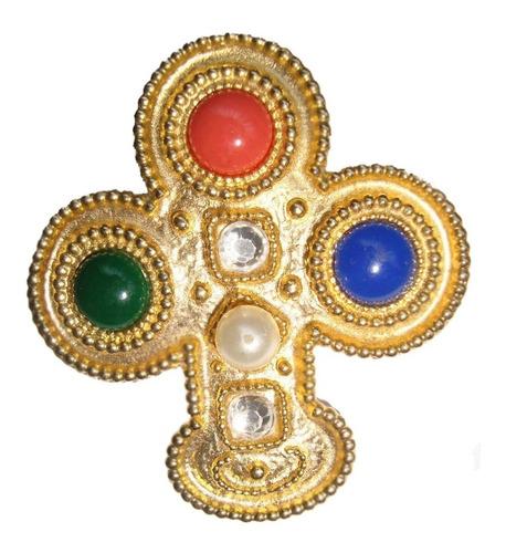 Importante Broche Prendedor Cruz Frances-piedras-cuotas