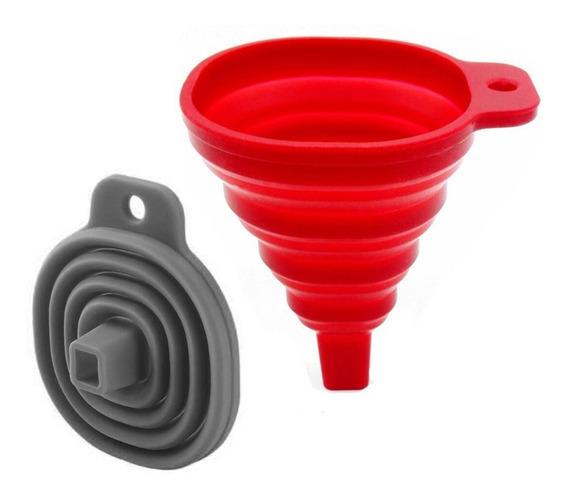 Funil Retrátil Dobrável Flexível Vermelho Silicone Cozinha