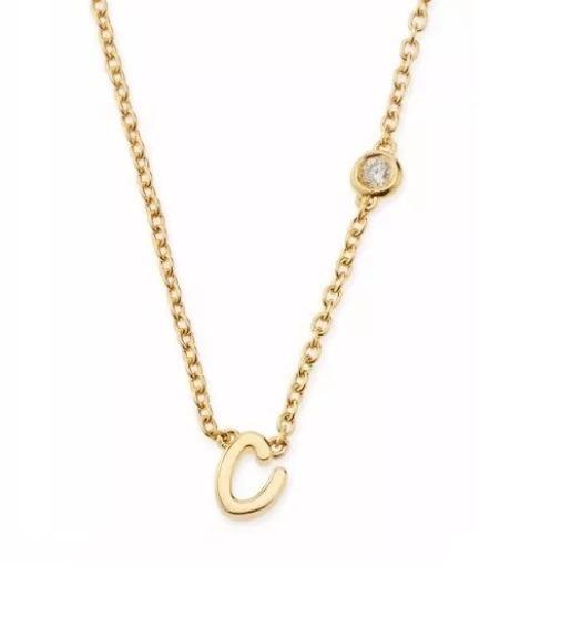 Colar Pingente Letra C De Ouro 18k E Diamante Vivarjoias M12