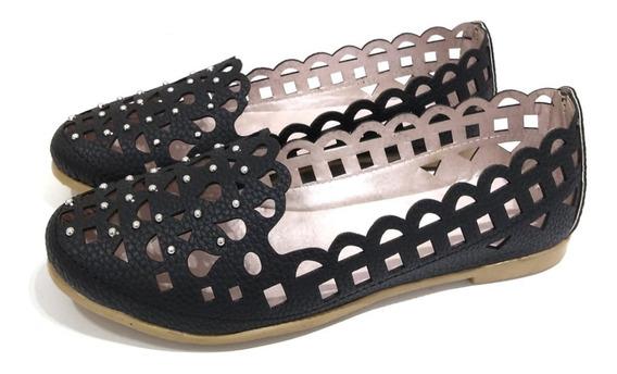 Zapatos Mujer Chatitas Caladas Tachas Simil Cuero Moda Primavera Verano