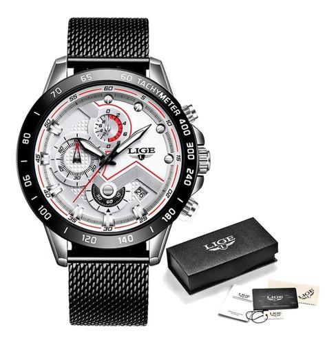 Relógio Masculino Pulseira Em Aço Inox Lige 9929 Fecho Mesh