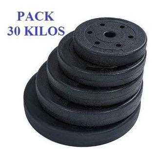 Pack 30 Kg De Discos Para Barras Y Mancuernas Orificio 28mm