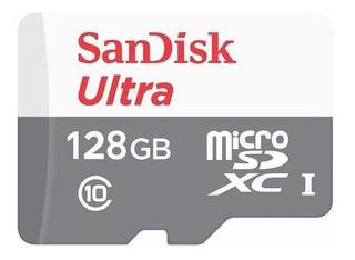 Cartão Memória Sandisk Micro Sd 128gb Ultra Classe 10 80mb/s