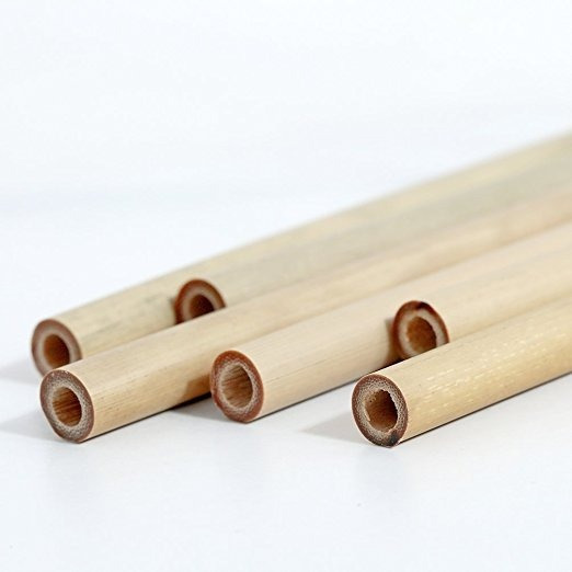 10 Bombillas De Bambú Purezza