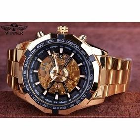 Relógio Masculino De Luxo! Original Automático Dourado
