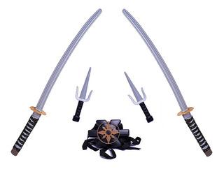 Juego De Armas Ninja Katanas 70 Cm + Accesorios Duende Azul