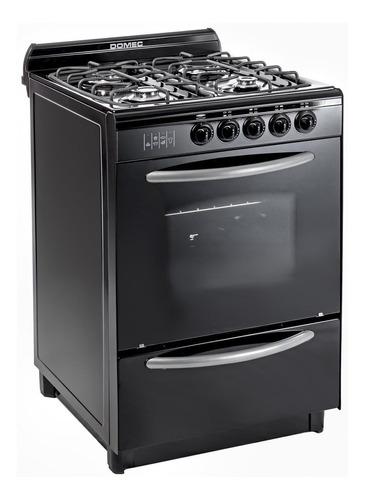 Cocina Domec CNUPV multigas 4 hornallas  negra puerta  con visor