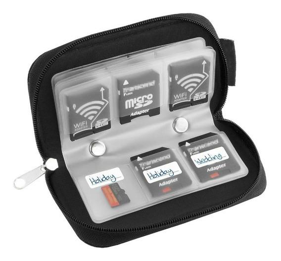 Porta Cartão De Memória Sd, Micro Sd E Compact Flash Cf Em Nylon C/ Zíper 22 Cartões Em 1