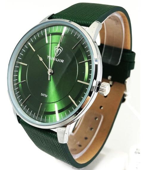Relogio Analogico Masculino Prata Verde Tuguir 5000 Nf