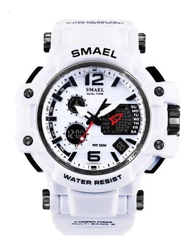 Relógio Masculino Smael 1509 Branco Esportes Poliuretano