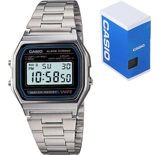 Reloj Casio Retro Vintage Clasico A158 Acero Inoxidable Original Luz Led