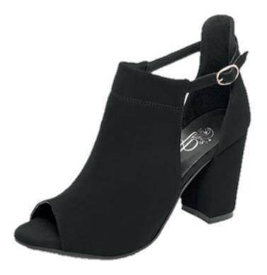 Zapato Tacon Bajo Negro Correa Ajustable