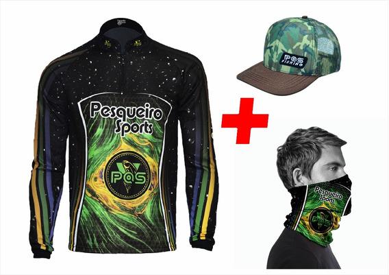 Camiseta De Pesca + Bandana + Boné Kit Pqs - Ref 07/04