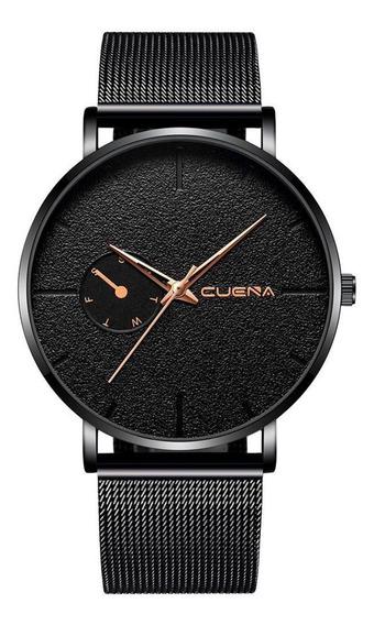 Relógio Masculino Total Black Quartzo Pulseira Malha De Aço