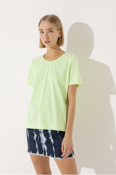 Remera De Mujer Ayres Algodon Basica Verde M/corta