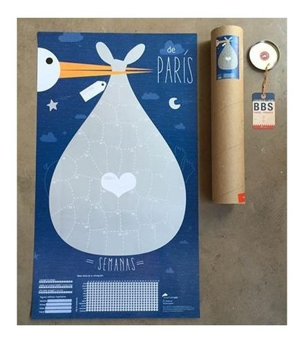 Imagen 1 de 4 de Poster Afiche Embarazo Futura Mamá Desarollo Bebé  Shower
