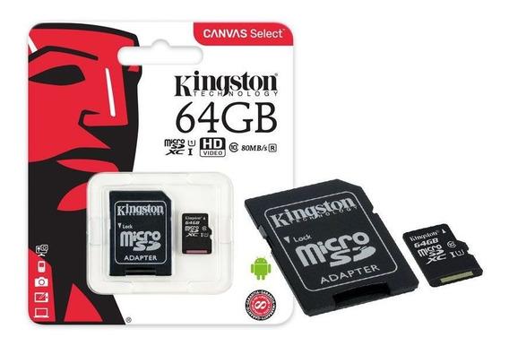 Cartão De Memória Classe 10 Kingston Sdcs/64gb Micro Canvas
