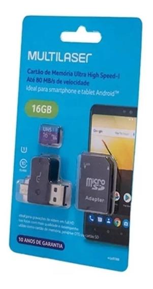 Cartão De Memória Multilaser Ultra Speed-i 16gb Mc150 -preto