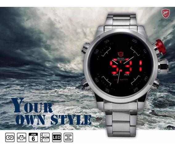Relógio Shark Prata Masculino A Prova Dagua Sh103