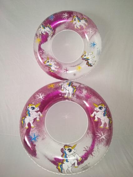 Inflable Rueda C/diamantina Unicornios 70 Cms