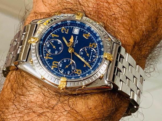 Relógio Breitling 38mm. Fundo Azul Aço Automático Safira.