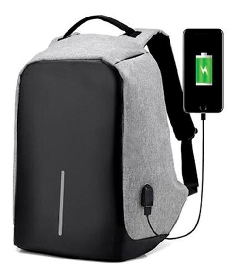 Mochila Antirrobo Smart Carga Usb Celular Notebook Tablet