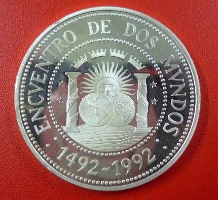 Argentina Moneda Plata Encuentro Mundos 10000 Australes 1991