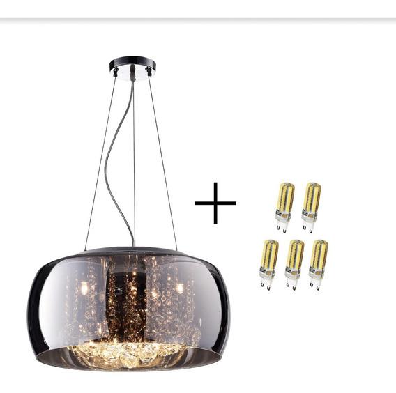 Luminarias Pendentes Cromado Cristal K9 C/ Lampada Led 40cm