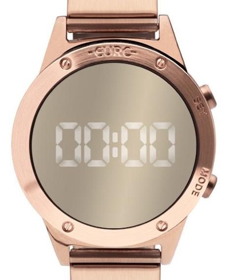 Relógio Pulso Feminino Espelhado Euro Fashion Rose Digital
