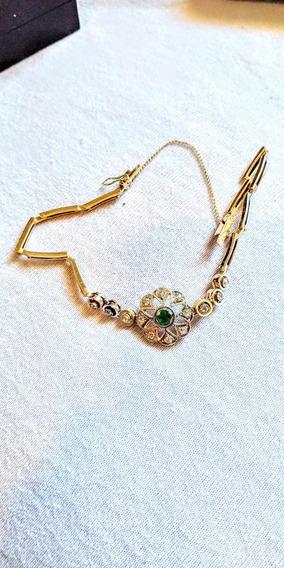 Linda/antiga Pulseira Ouro Amarelo/platina14brilhs/esmeralda