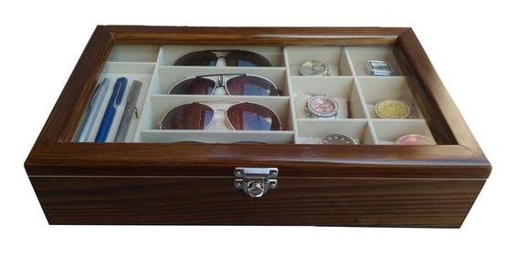 Estojo 06 Relógio - 04 Óculos E 06 Canetas - Imbuia