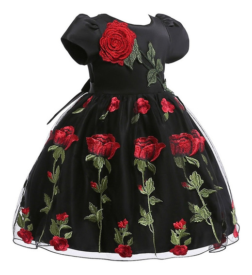Vestido Niña Fiesta Elegante Color Negro Bordado De Flores