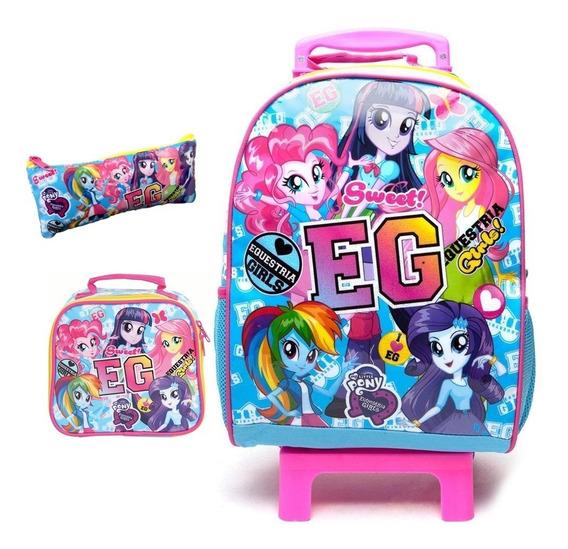 Kit Mochila Rodinhas Eg My Little Pony Lancheira Estojo Dmw
