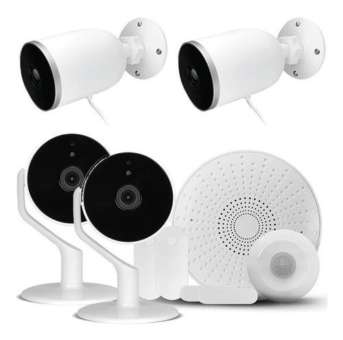 Imagen 1 de 5 de Kit Alarma Nexxt Wifi App 3 Sensores Sirena + 4 Cámaras Wifi