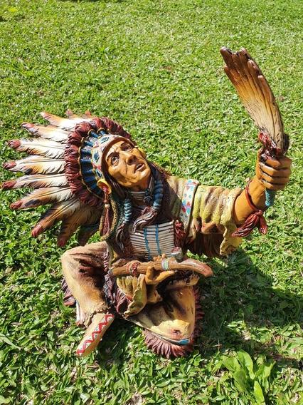 Escultura / Estátua Índio Sioux Em Ritual 33cm - Xamanismo