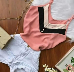 Blusa Alcinha Feminina Decote V Variadas Cores P Ao Gg
