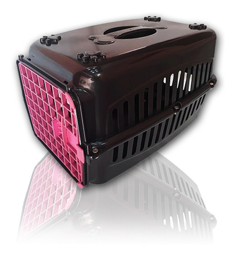 Caixa De Transporte Cachorro Gatos Preta Porta Rosa N2