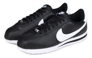 Tenis Para Hombre Nike Cortez Piel Negro Casual Entrenamient