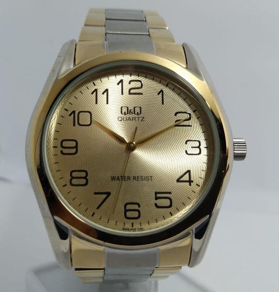 Relógio Q&q By Citizen Prata Fundo Dourado - Q638j403y