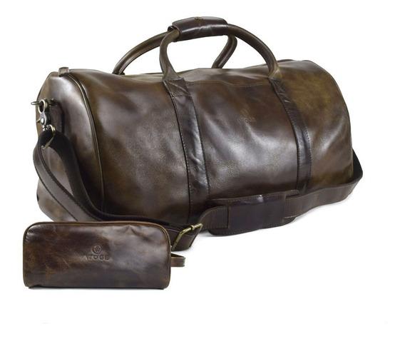 Maleta Duffel Bag Woge Grande 100% Piel Chocolate