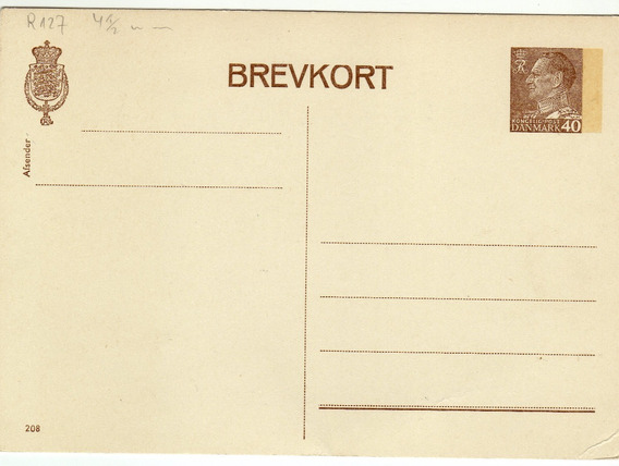 Dinamarca Entero Postal Sin Uso
