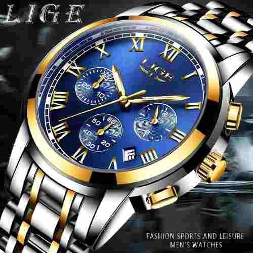 Relógio Luxo Lige Detalhes Dourado + Original Caixa
