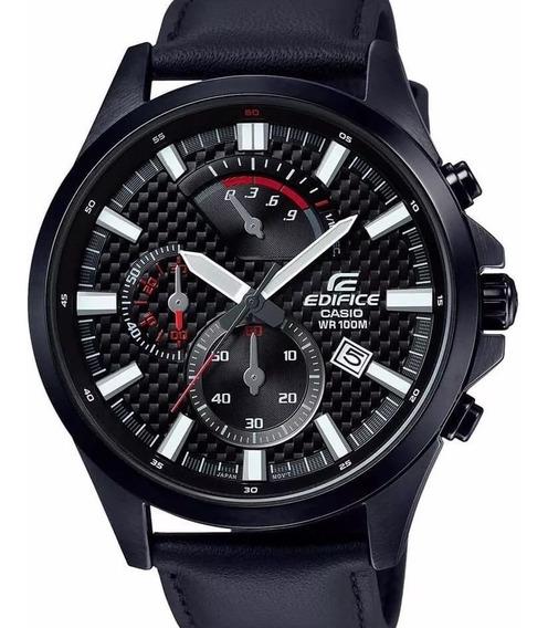 Relógio Casio Edifice Masculino Preto Couro Efv-530bl-1avudf