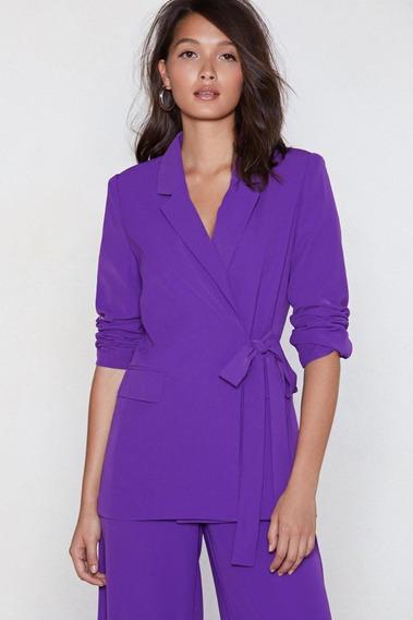Blazer Solido Violeta Mujer Moda Entallado