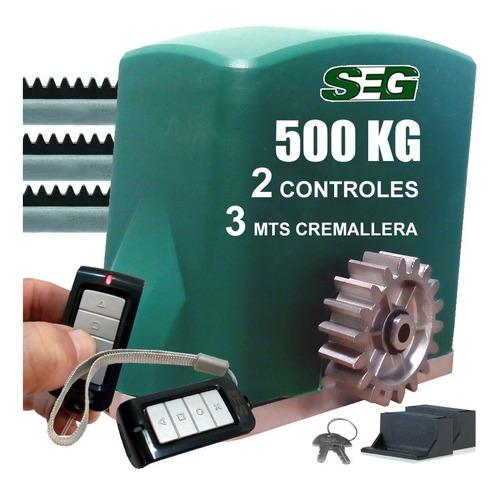 Kit Programado Motor Porton Corredizo 500 Kg 3 Mts 2 Cont.
