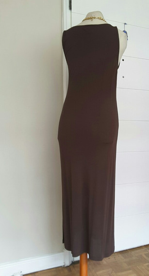 Vestido Largo Escote V Marron Ralph Lauren Mujer Coctel T L
